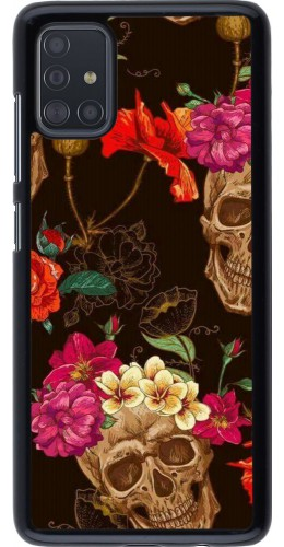 Coque Samsung Galaxy A51 - Skulls and flowers