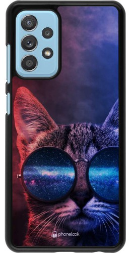Coque Samsung Galaxy A52 - Red Blue Cat Glasses