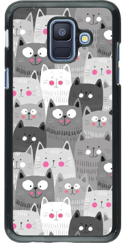Coque Samsung Galaxy A6 - Chats gris troupeau