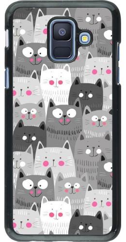 Coque Samsung Galaxy A6 - Chats gris troupeau