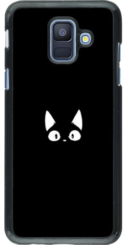 Coque Samsung Galaxy A6 - Funny cat on black
