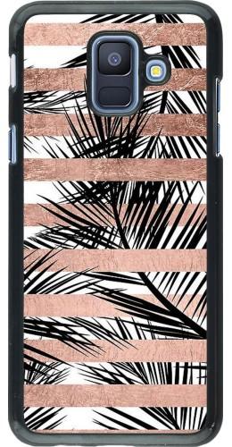 Coque Samsung Galaxy A6 - Palm trees gold stripes