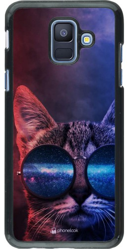 Coque Samsung Galaxy A6 - Red Blue Cat Glasses