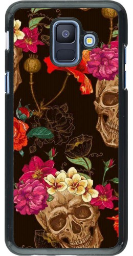 Coque Samsung Galaxy A6 - Skulls and flowers