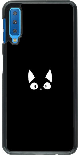 Coque Samsung Galaxy A7 - Funny cat on black