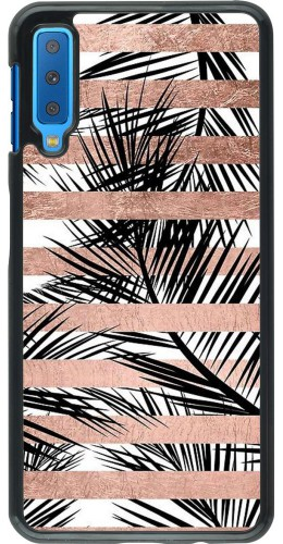 Coque Samsung Galaxy A7 - Palm trees gold stripes