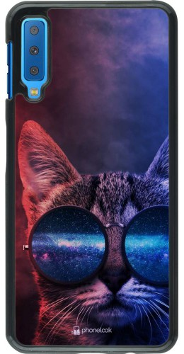 Coque Samsung Galaxy A7 - Red Blue Cat Glasses