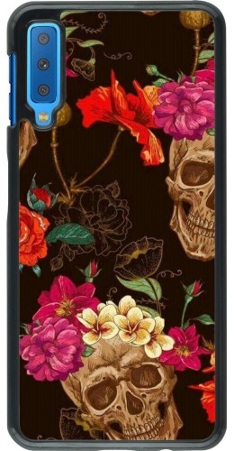 Coque Samsung Galaxy A7 - Skulls and flowers