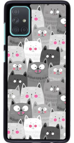 Coque Samsung Galaxy A71 - Chats gris troupeau