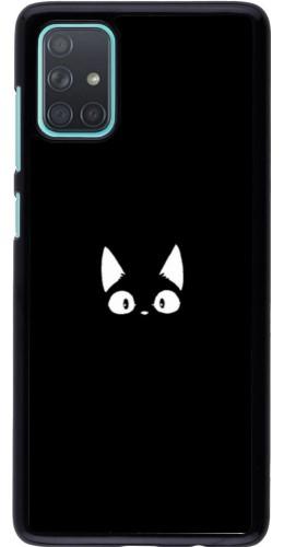 Coque Samsung Galaxy A71 - Funny cat on black