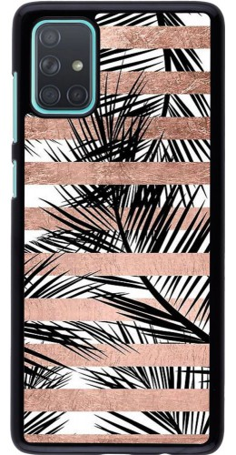 Coque Samsung Galaxy A71 - Palm trees gold stripes