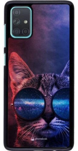 Coque Samsung Galaxy A71 - Red Blue Cat Glasses