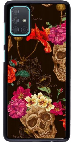 Coque Samsung Galaxy A71 - Skulls and flowers