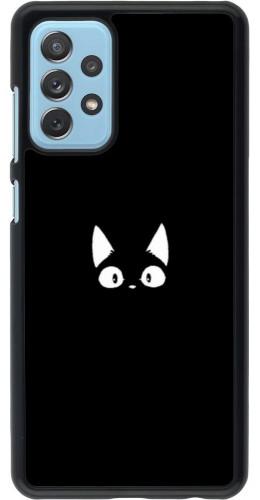 Coque Samsung Galaxy A72 - Funny cat on black