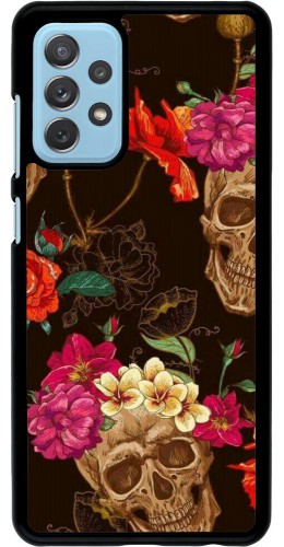 Coque Samsung Galaxy A72 - Skulls and flowers