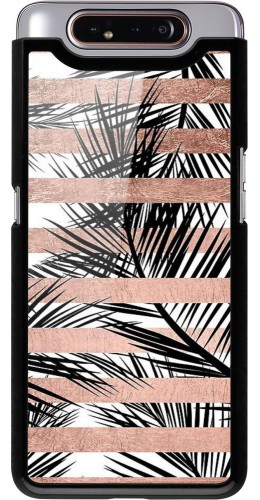 Coque Samsung Galaxy A80 - Palm trees gold stripes