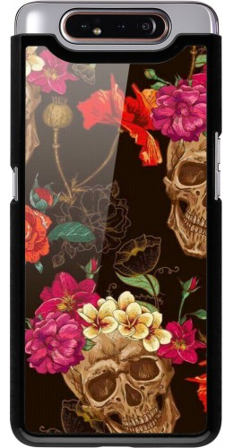 Coque Samsung Galaxy A80 - Skulls and flowers