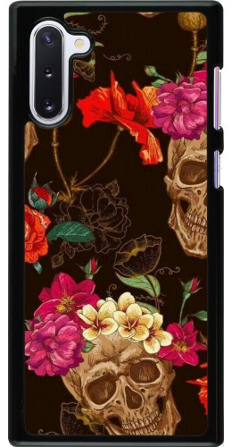 Coque Samsung Galaxy Note 10 - Skulls and flowers