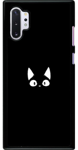 Coque Samsung Galaxy Note 10+ - Funny cat on black