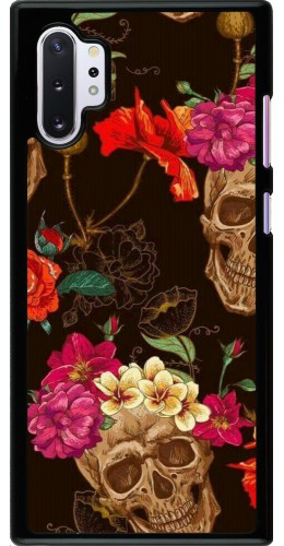 Coque Samsung Galaxy Note 10+ - Skulls and flowers