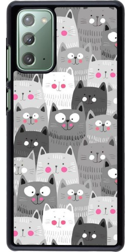 Coque Samsung Galaxy Note 20 - Chats gris troupeau