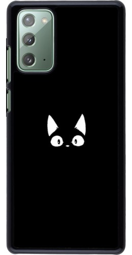 Coque Samsung Galaxy Note 20 - Funny cat on black