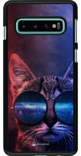 Coque Samsung Galaxy S10 - Red Blue Cat Glasses