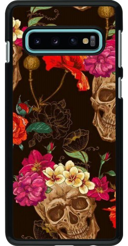 Coque Samsung Galaxy S10 - Skulls and flowers