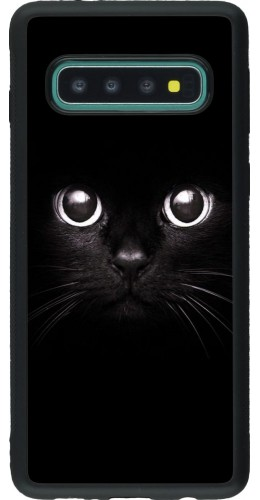 Coque Samsung Galaxy S10 - Silicone rigide noir Cat eyes