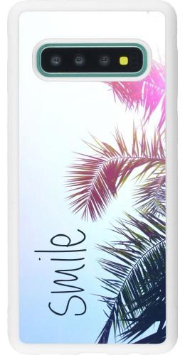 Coque Samsung Galaxy S10 - Silicone rigide blanc Smile 05