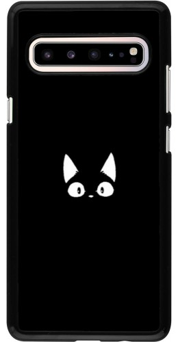 Coque Samsung Galaxy S10 5G - Funny cat on black