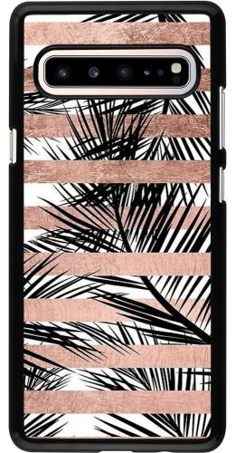 Coque Samsung Galaxy S10 5G - Palm trees gold stripes