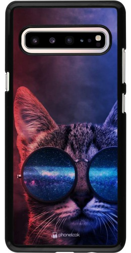 Coque Samsung Galaxy S10 5G - Red Blue Cat Glasses