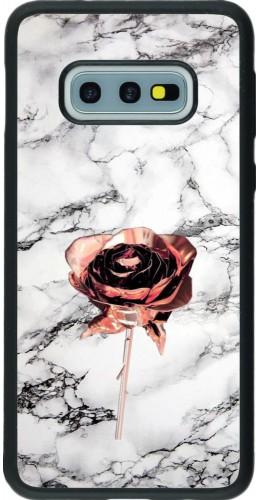 Coque Samsung Galaxy S10e - Silicone rigide noir Marble Rose Gold