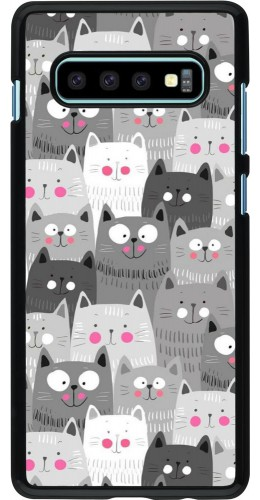 Coque Samsung Galaxy S10+ - Chats gris troupeau