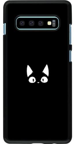 Coque Samsung Galaxy S10+ - Funny cat on black