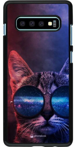 Coque Samsung Galaxy S10+ - Red Blue Cat Glasses