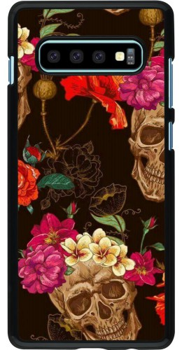 Coque Samsung Galaxy S10+ - Skulls and flowers