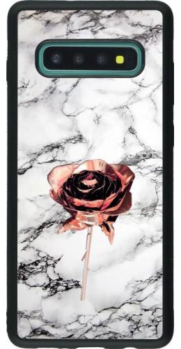 Coque Samsung Galaxy S10+ - Silicone rigide noir Marble Rose Gold