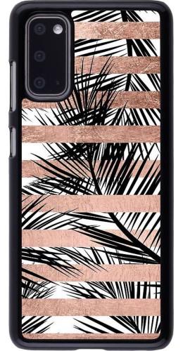 Coque Samsung Galaxy S20 - Palm trees gold stripes