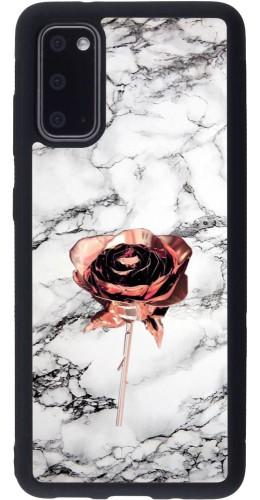 Coque Samsung Galaxy S20 - Silicone rigide noir Marble Rose Gold