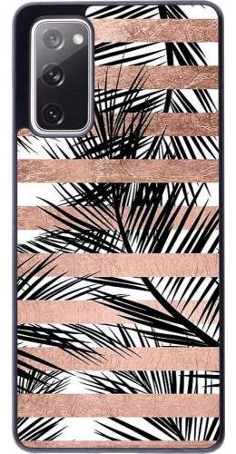 Coque Samsung Galaxy S20 FE - Palm trees gold stripes