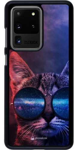 Coque Samsung Galaxy S20 Ultra - Red Blue Cat Glasses