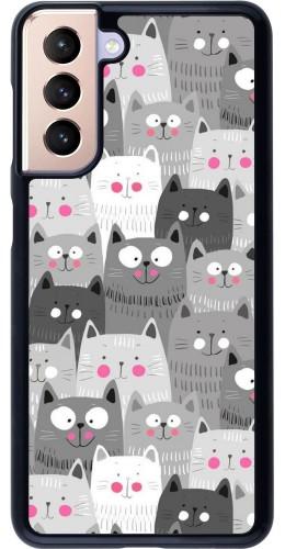Coque Samsung Galaxy S21 5G - Chats gris troupeau