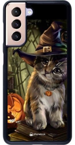 Coque Samsung Galaxy S21 5G - Halloween 21 Witch cat