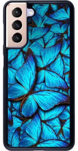 Coque Samsung Galaxy S21 5G - Papillon bleu