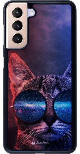 Coque Samsung Galaxy S21 5G - Red Blue Cat Glasses