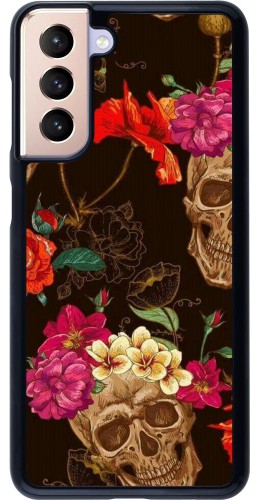 Coque Samsung Galaxy S21 5G - Skulls and flowers
