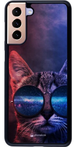 Coque Samsung Galaxy S21+ 5G - Red Blue Cat Glasses