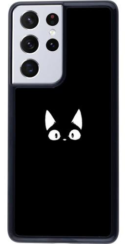 Coque Samsung Galaxy S21 Ultra 5G - Funny cat on black